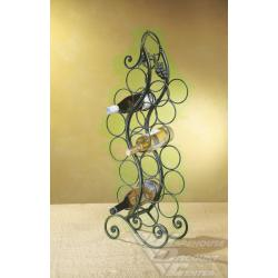 MidwestCURVED TWELVE BOTTLE WINE STAND. IRON.ON IRON 15LX6.5WX35H