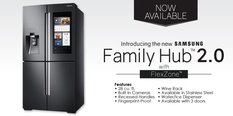 new samsung family hub 2 0 smart refrigerator wdc kitchen. Black Bedroom Furniture Sets. Home Design Ideas