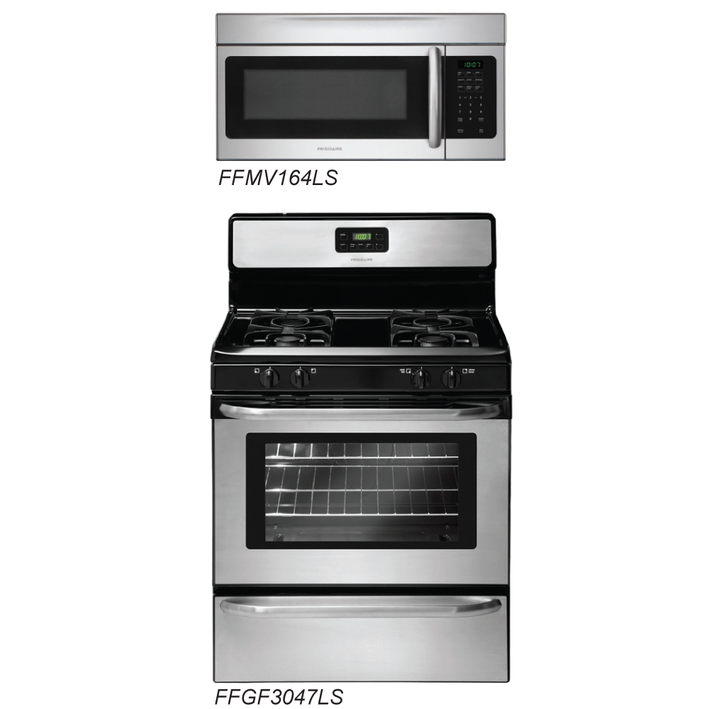 discount package frigidaire stainless steel kitchen package pair otr microwave and range. Black Bedroom Furniture Sets. Home Design Ideas