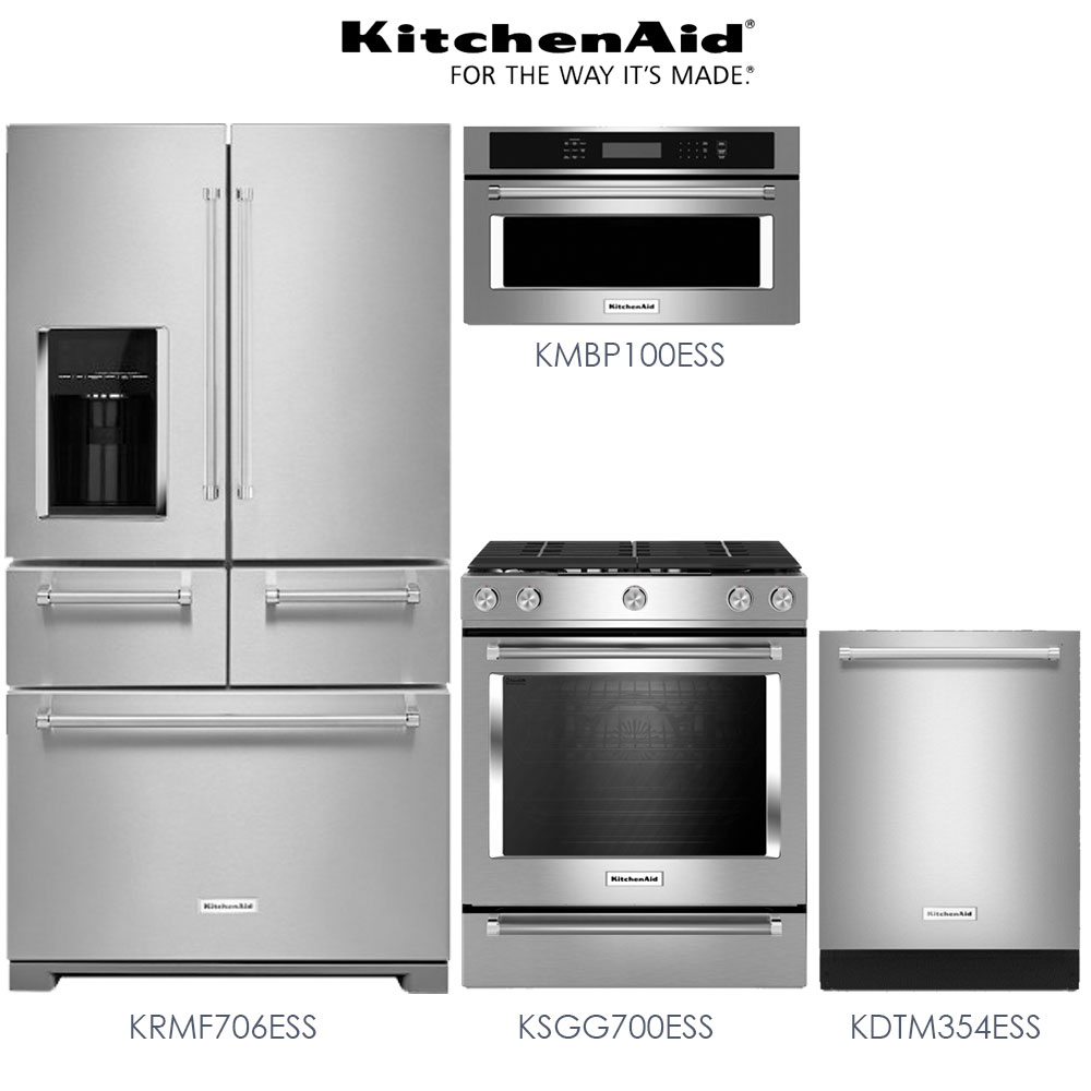 Kitchenaid 4 Piece Kitchen Appliance Package With Electric: Discount Package KitchenAid 4-Piece Premium Stainless