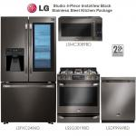 LG Studio - 4-Piece InstaView Black Stainless Steel Kitchen Package.