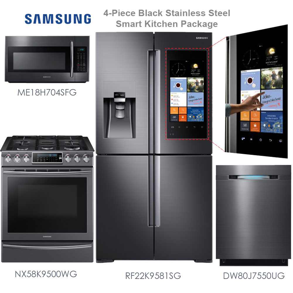 lovely 4 Piece Kitchen Appliance Packages #7: Samsung 4-Piece Black Stainless Steel Smart Kitchen Appliance Package -  Save 30% Now