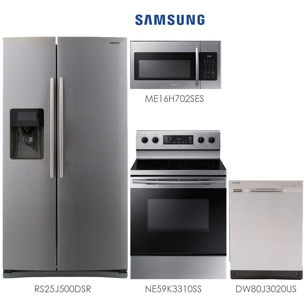 discount package samsung stainless steel 4 piece kitchen package save 22 off today. Black Bedroom Furniture Sets. Home Design Ideas